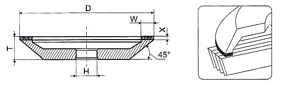 Алмазная чашка 12А2 45 для заточки