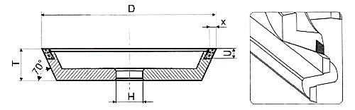 Алмазные чашки 11V9-70