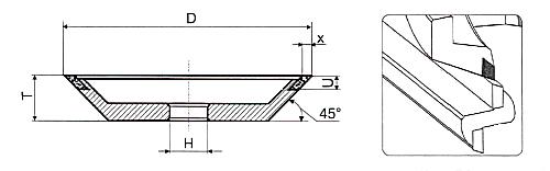 Алмазная чашка 12V9 45